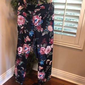 Ann Taylor Loft satin floral pants